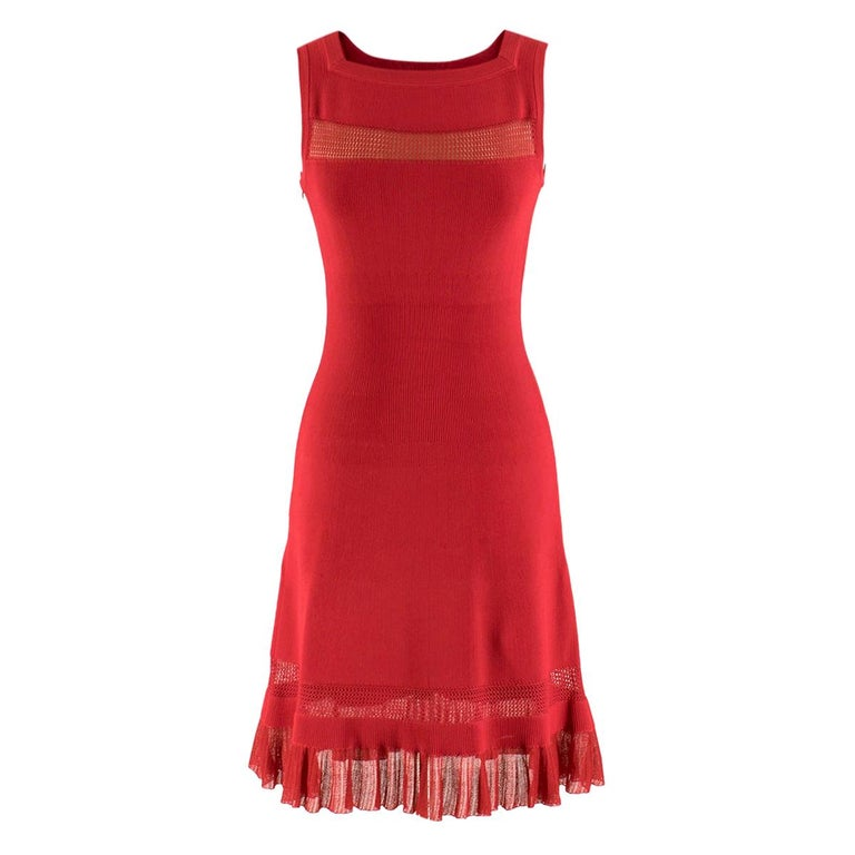 Alaia Red Fine Mesh Cut-Out Sleeveless Knit Dress IT 38 For Sale