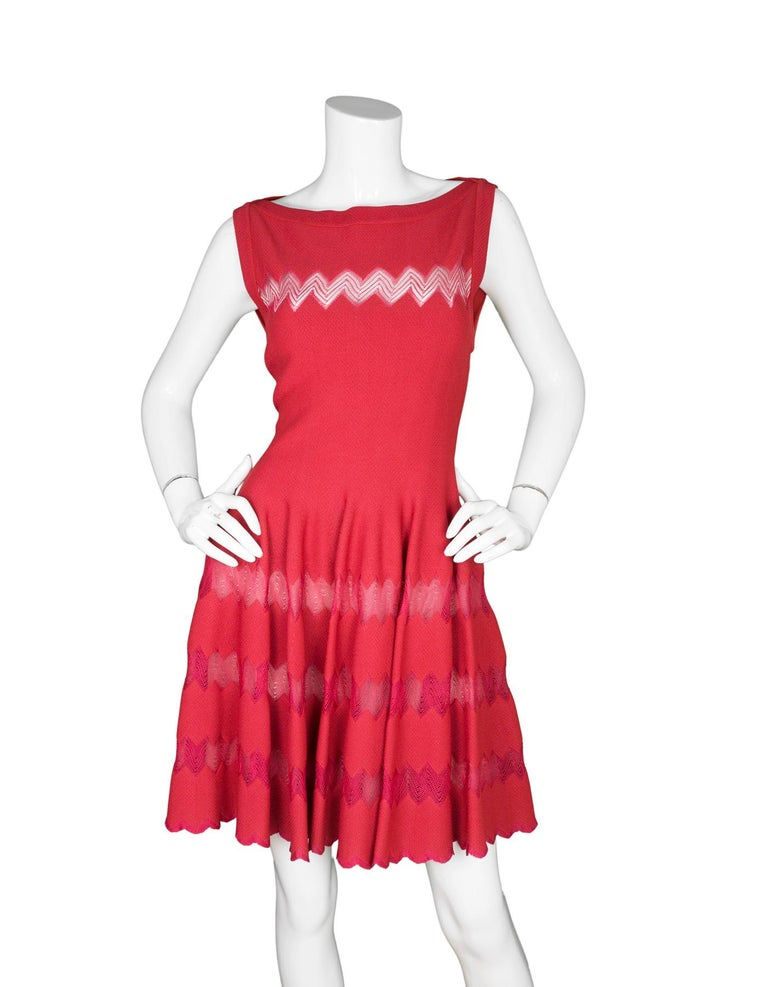 Alaia Red Fit Flare Sleeveless Zig Zag Mesh Dress sz FR 44  Made In: Italy Color: Red Materials: 50% viscose, 40% silk, 10% polyester Lining: Nude, 100% silk Opening/Closure: Back center zip up closure Overall Condition: Excellent pre-owned