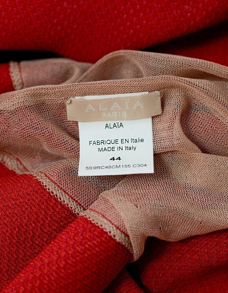 Women's Alaia Red Fit Flare Sleeveless Zig Zag Mesh Dress sz FR 44 For Sale