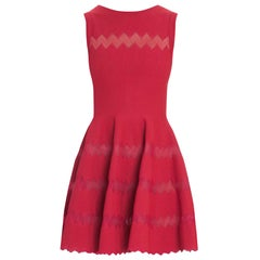 Alaia Red Fit Flare Sleeveless Zig Zag Mesh Dress sz FR 44