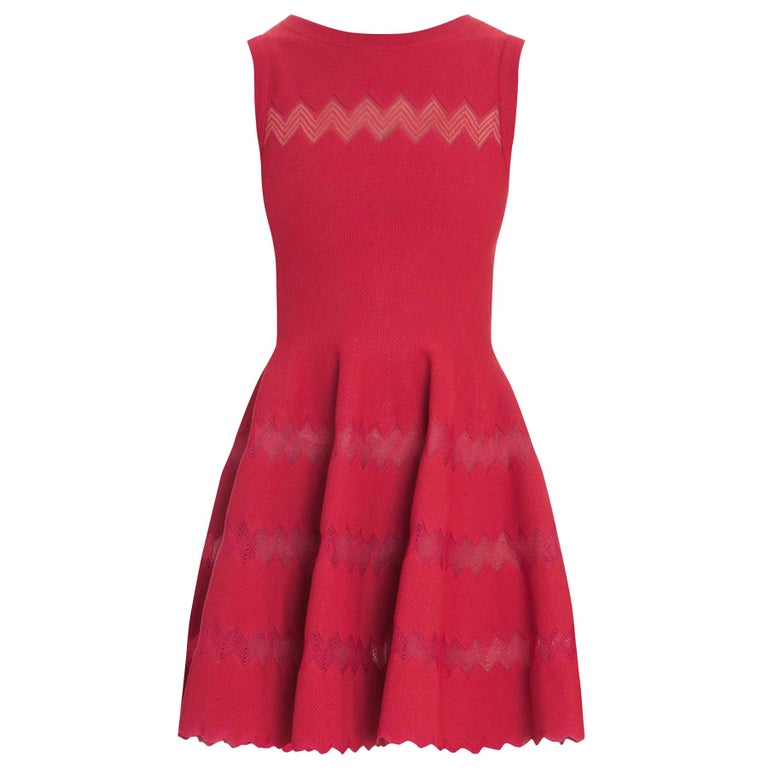 Alaia Red Fit Flare Sleeveless Zig Zag Mesh Dress sz FR 44 For Sale