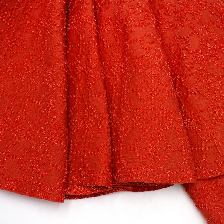 Alaia Red Metallic Knit Skater Dress US 10 In Good Condition For Sale In London, GB
