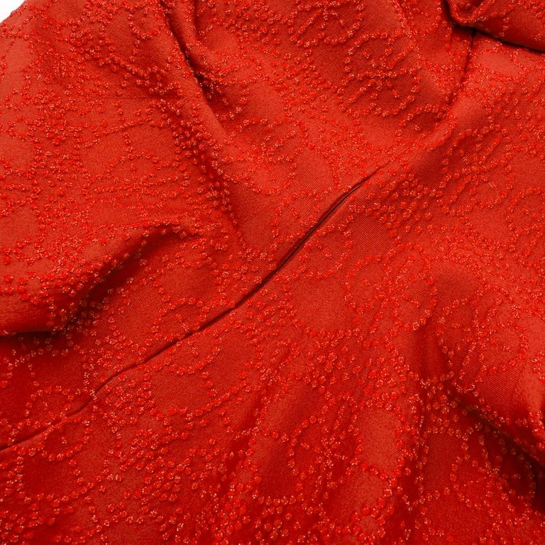 Alaia Red Metallic Knit Skater Dress US 10 For Sale 1