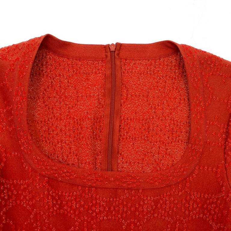 Alaia Red Metallic Knit Skater Dress US 10 For Sale 4