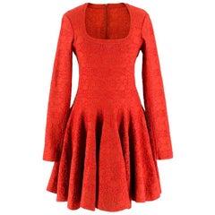 Alaia Red Metallic Knit Skater Dress US 10
