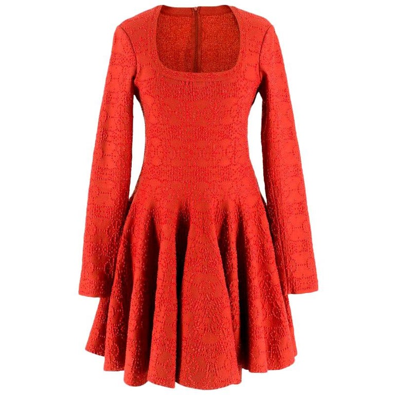 Alaia Red Metallic Knit Skater Dress US 10 For Sale