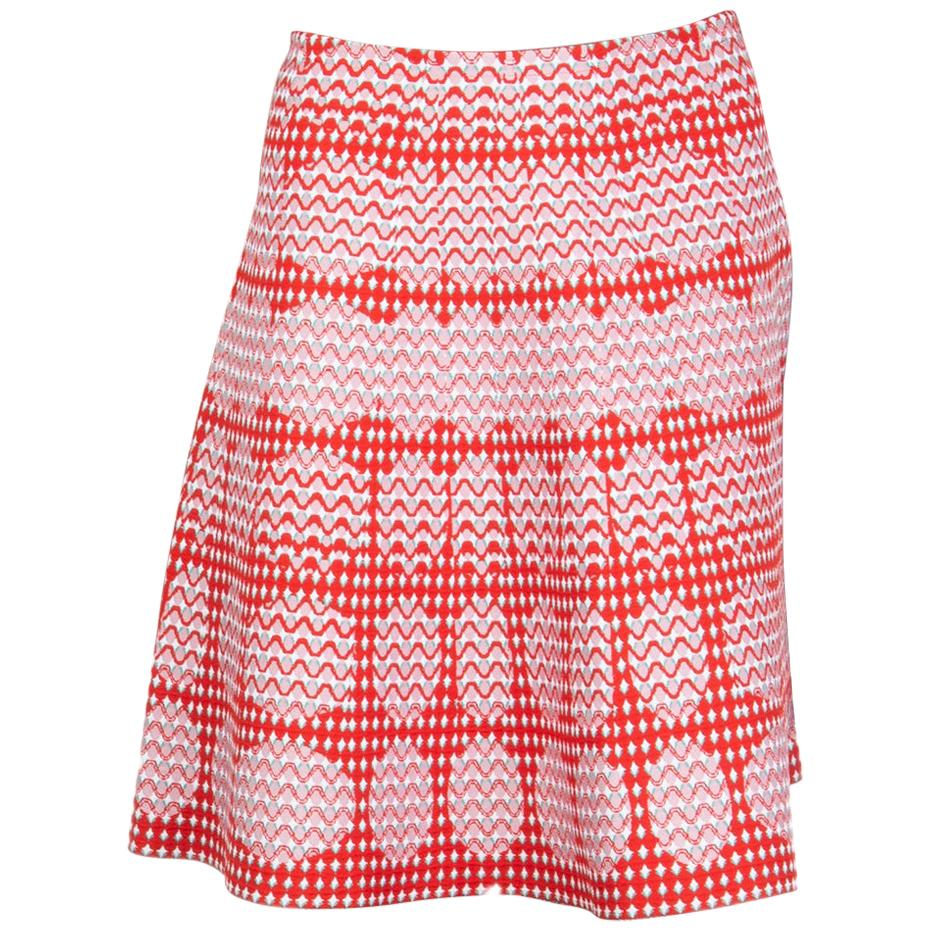 ALAIA red & pink viscose OPTIC JACQUARED KNIT A-LINE Skirt 42 L