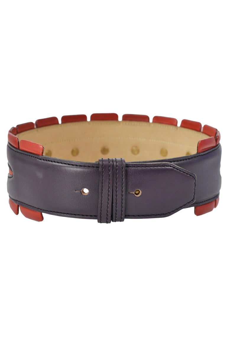 Alaia Red & Purple Leather Belt with Studs In Excellent Condition For Sale In Los Angeles, CA