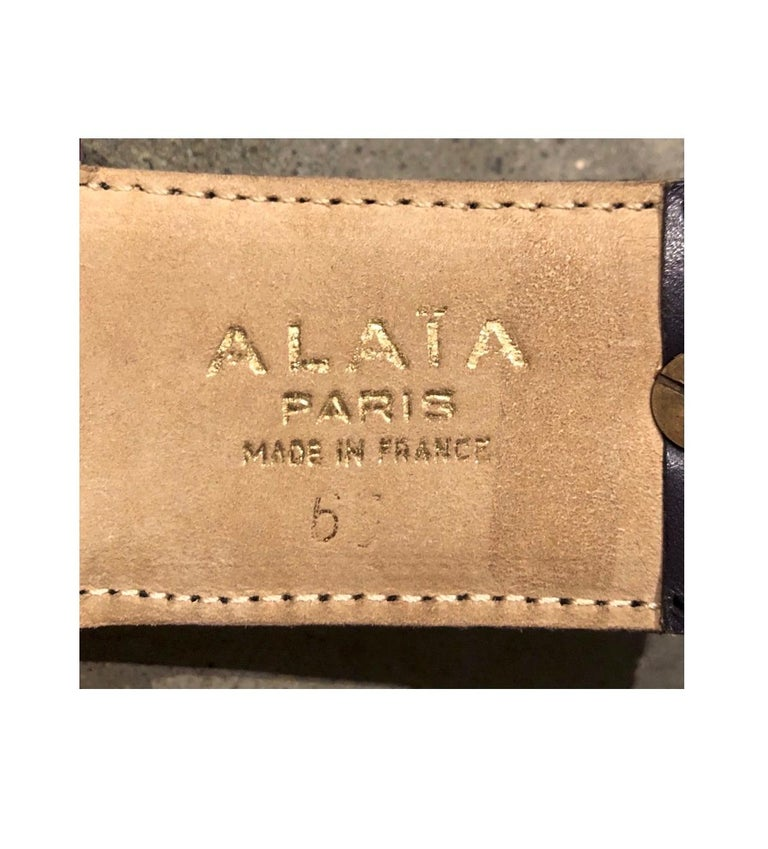 Women's or Men's Alaia Red & Purple Leather Belt with Studs For Sale