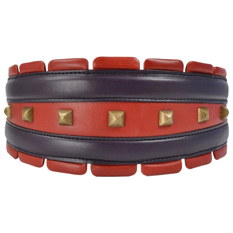 Alaia Red & Purple Leather Belt with Studs For Sale