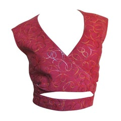 Alaia Red Suede Wrap Top