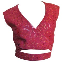 Alaia Red Suede Wrap Vest Top