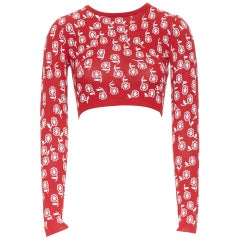 ALAIA red white floral jacquard viscose blend long sleeve cropped sweater XS