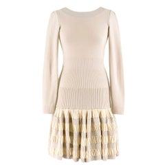 Alaia Ruffle Skirt Wool blend Knit Dress 36 FR