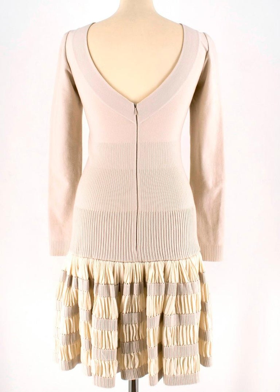 White Alaia Ruffle Skirt Wool blend Knit Dress XS 36R