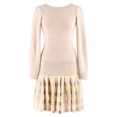 Alaia Ruffle Skirt Wool blend Knit Dress XS 36R