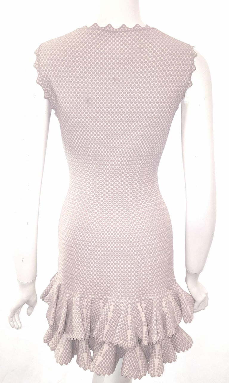 Gray Alaia Serpentine Nude Double Tier Sleeveless Dress  For Sale