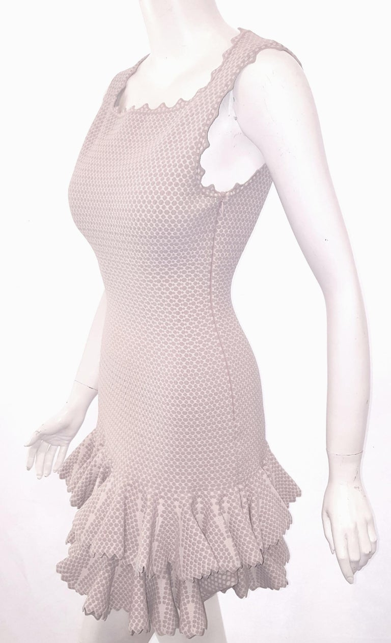 Alaia Serpentine Nude Double Tier Sleeveless Dress  In Excellent Condition For Sale In Palm Beach, FL