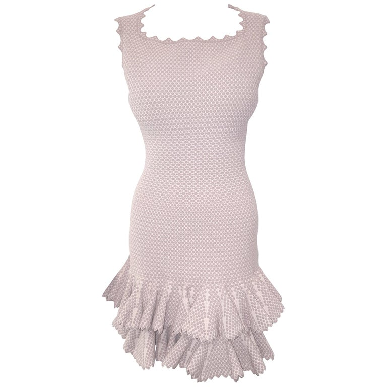 Alaia Serpentine Nude Double Tier Sleeveless Dress  For Sale