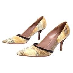 Alaia Shoes Snakeskin Pointed Toe Pumps w Black Trim w Original Box & Dust Bags