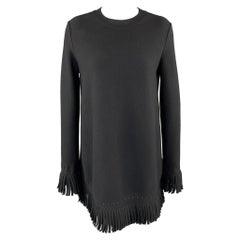 ALAIA Size 6 Black Wool Blend Fringe Trim Mini Dress