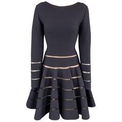 ALAIA Size 8 Navy Stretch Wool Long Sleeve Stripe Dress