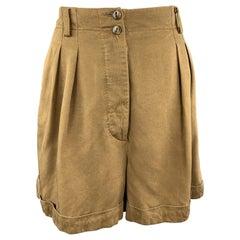 ALAIA Size 8 Olive Khaki PLeated High Rise Shorts