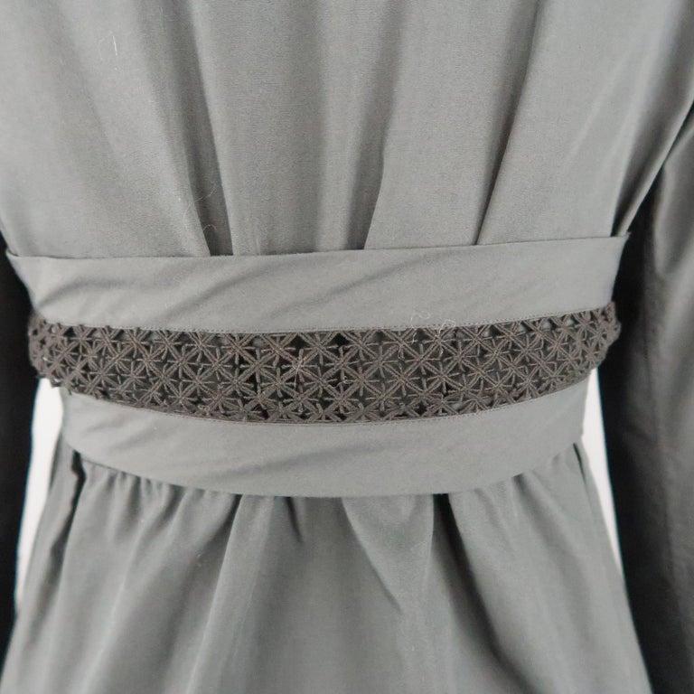 ALAIA Size S Black Raglan Sleeve Lace Overlay Sash Blouse For Sale 1