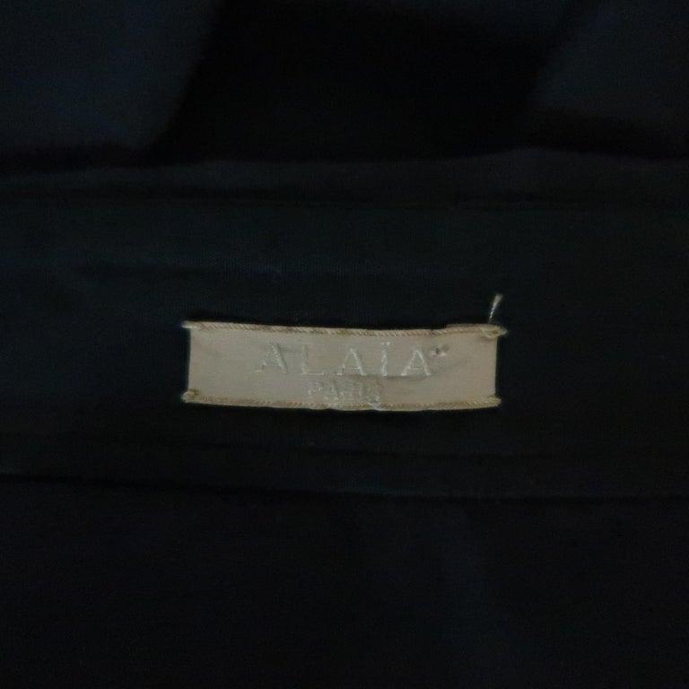 ALAIA Size S Black Raglan Sleeve Lace Overlay Sash Blouse For Sale 2
