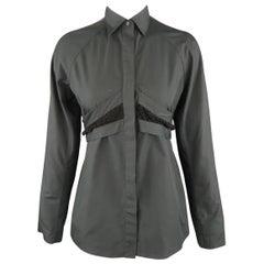 ALAIA Size S Black Raglan Sleeve Lace Overlay Sash Blouse