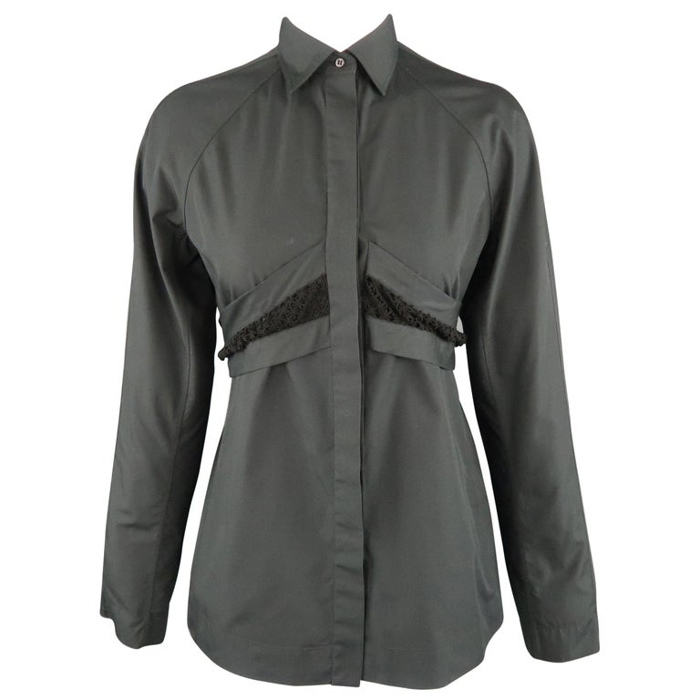 ALAIA Size S Black Raglan Sleeve Lace Overlay Sash Blouse For Sale