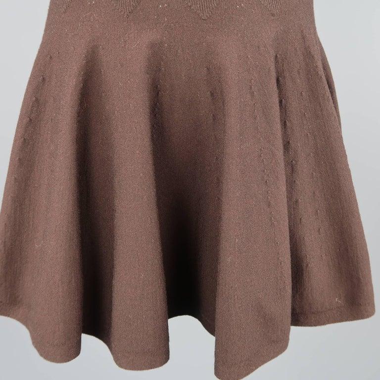 Black Alaia Size XS Brown Stretch Wool Heart Knit Ruffle Mini Skirt For Sale