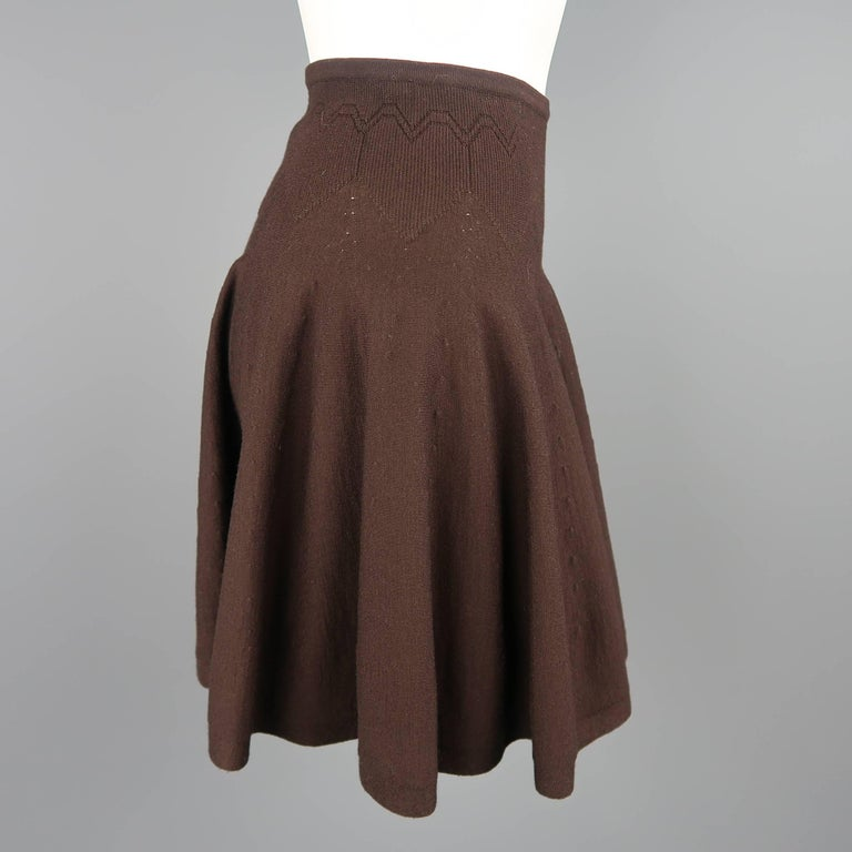 Alaia Size XS Brown Stretch Wool Heart Knit Ruffle Mini Skirt In Good Condition For Sale In San Francisco, CA