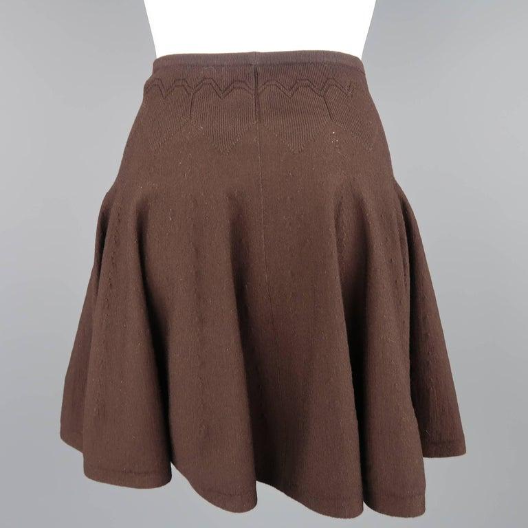 Women's Alaia Size XS Brown Stretch Wool Heart Knit Ruffle Mini Skirt For Sale
