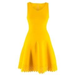 Alaia Sleeveless knit yellow fit & flare dress FR 36