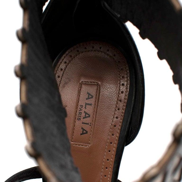 Alaia Stiletto Black & White Laser Cut Sandals 40 For Sale 4