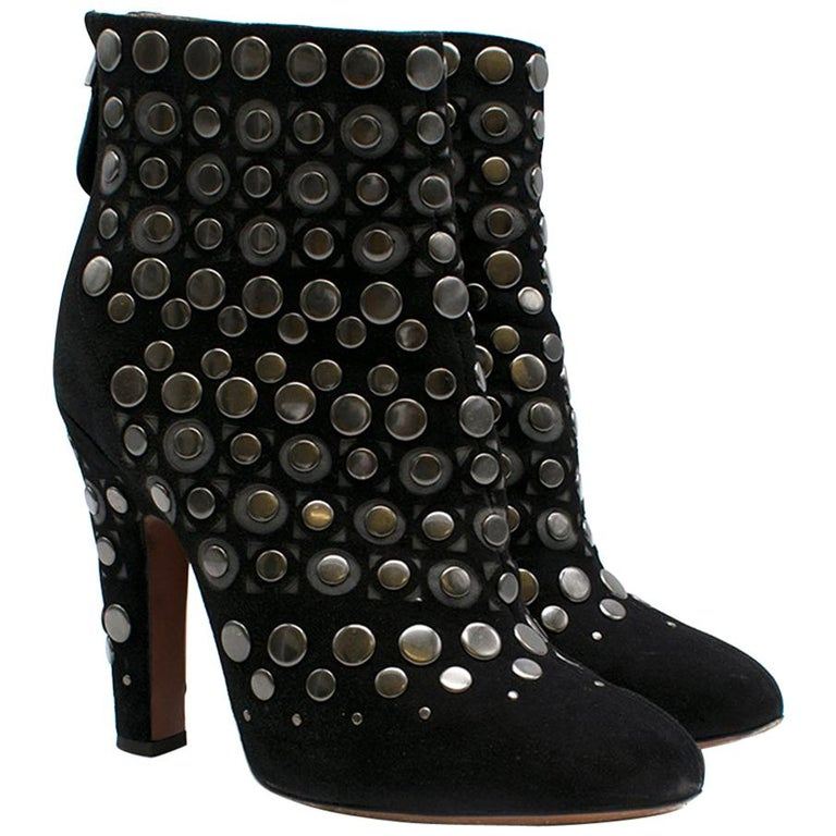 Alaia Studded Black Suede Block Heel Ankle Boots Size 38 For Sale