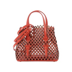 Alaia Studded Open Tote Laser Cut Leather Small