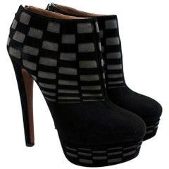 Alaia Suede Black & Grey Check Platform Boots - Size EU 37.5
