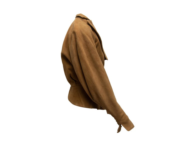 Brown Alaia Tan Suede Double-Breasted Jacket For Sale