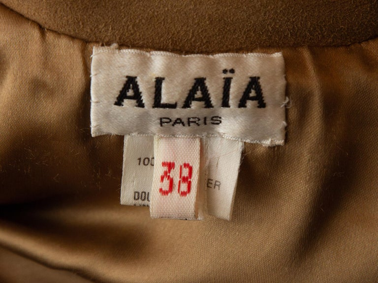Alaia Tan Suede Double-Breasted Jacket In Good Condition For Sale In New York, NY