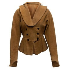 Alaia Tan Suede Double-Breasted Jacket
