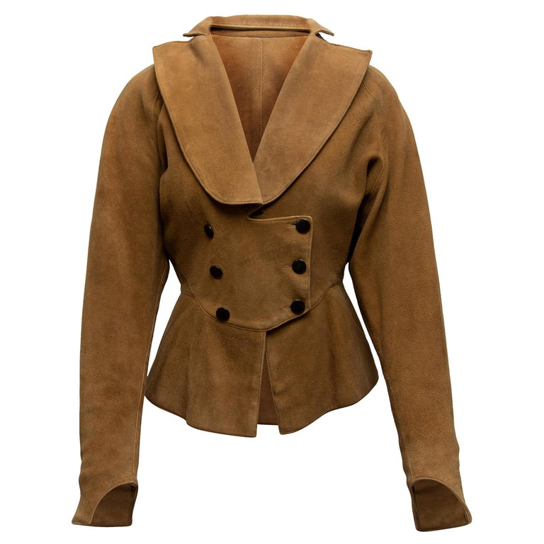 Alaia Tan Suede Double-Breasted Jacket For Sale