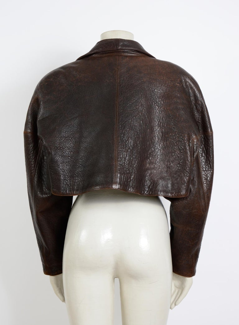 Black Alaia vintage 1980s collectable brown leather cropped jacket For Sale