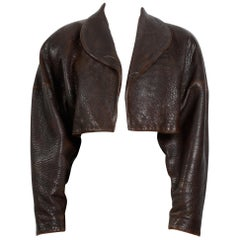 Alaia vintage 1980s collectable brown leather cropped jacket