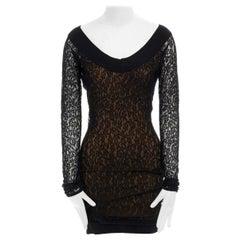 ALAIA Vintage AW90 black lace nude lined illusion bodycon mini dress S UK4 UK8