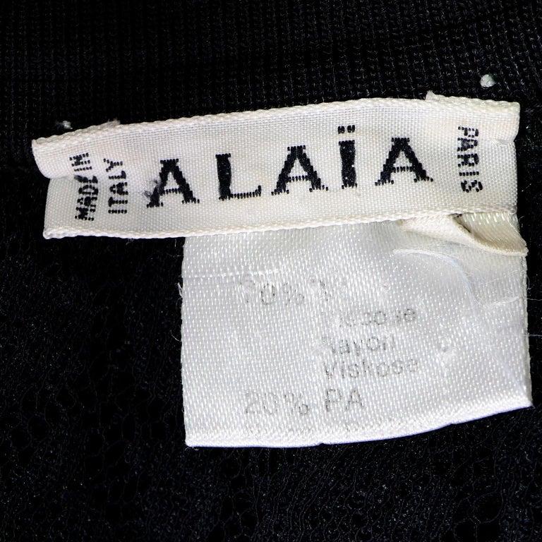 Alaia Vintage FW 1991 Runway Bodysuit in Black Sheer Animal Print Lace & Velvet For Sale 7