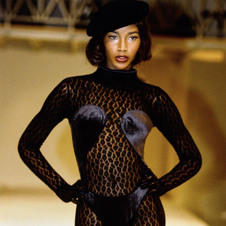 Azzedine Alaia's Fall/Winter 1991 runway show was full of animal prints and motifs, as well as Alaia's signature body-hugging fits. This vintage Alaia bodysuit is a perfect combination of both, with a sheer leopard print lace fitted perfectly to the