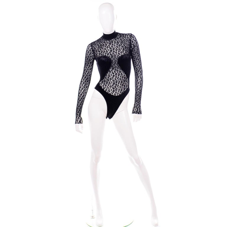 Alaia Vintage FW 1991 Runway Bodysuit in Black Sheer Animal Print Lace & Velvet In Excellent Condition For Sale In Portland, OR