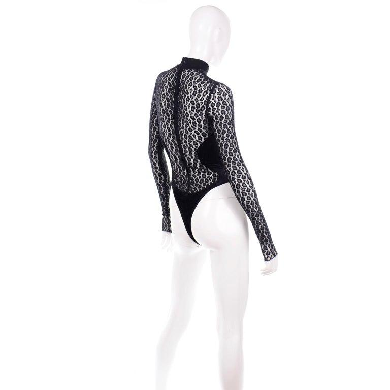 Alaia Vintage FW 1991 Runway Bodysuit in Black Sheer Animal Print Lace & Velvet For Sale 1